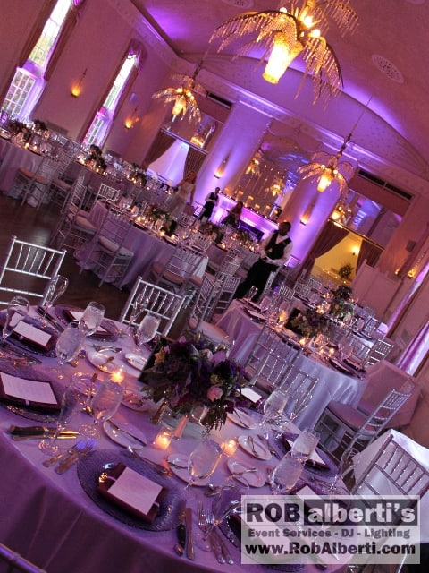 blue wedding reception uplighting
