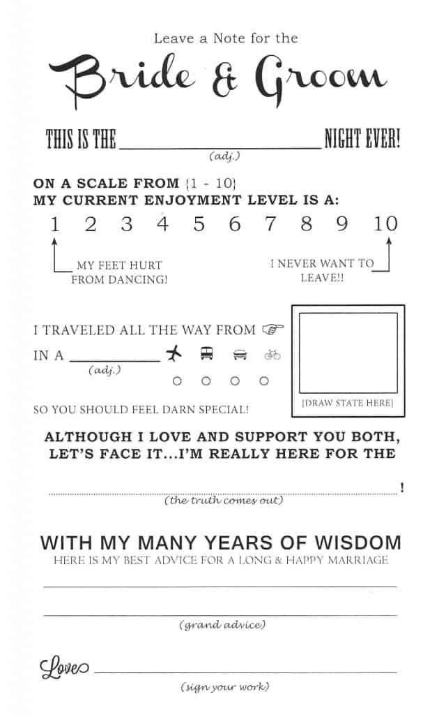Crazy image regarding free printable wedding mad libs template