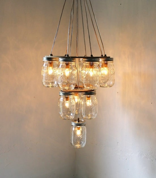 Mason Jar Chandelier: Rustic Barn Lighting