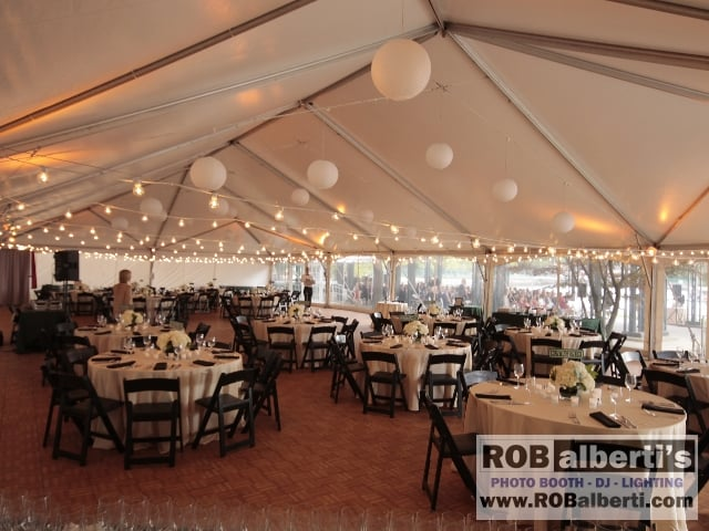 Bistro String lights across tented wedding in Boston MA. Boston Science  Museum ...