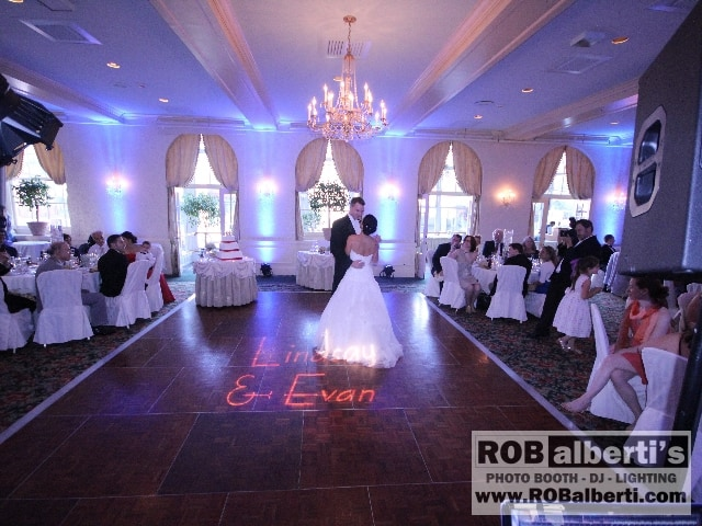 Hotel Northampton Wedding Event Up Lighting Uplighting In Blue With Name Lights