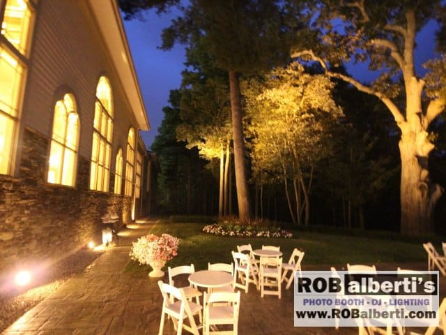 We lit the back tree line with our waterproof LED fixtures outside