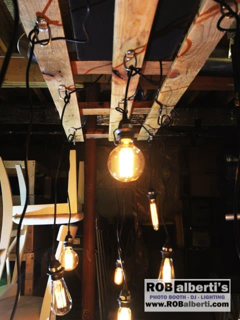 Reclaimed Wood Pallet Edison Bulb Chandelier Barn